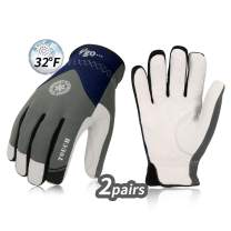 Vgo 2Pairs 32℉ or above 3M Thinsulate C40 Goatskin Leather Waterproof Winter Gloves(Size XXL,Grey,GA7356FW)