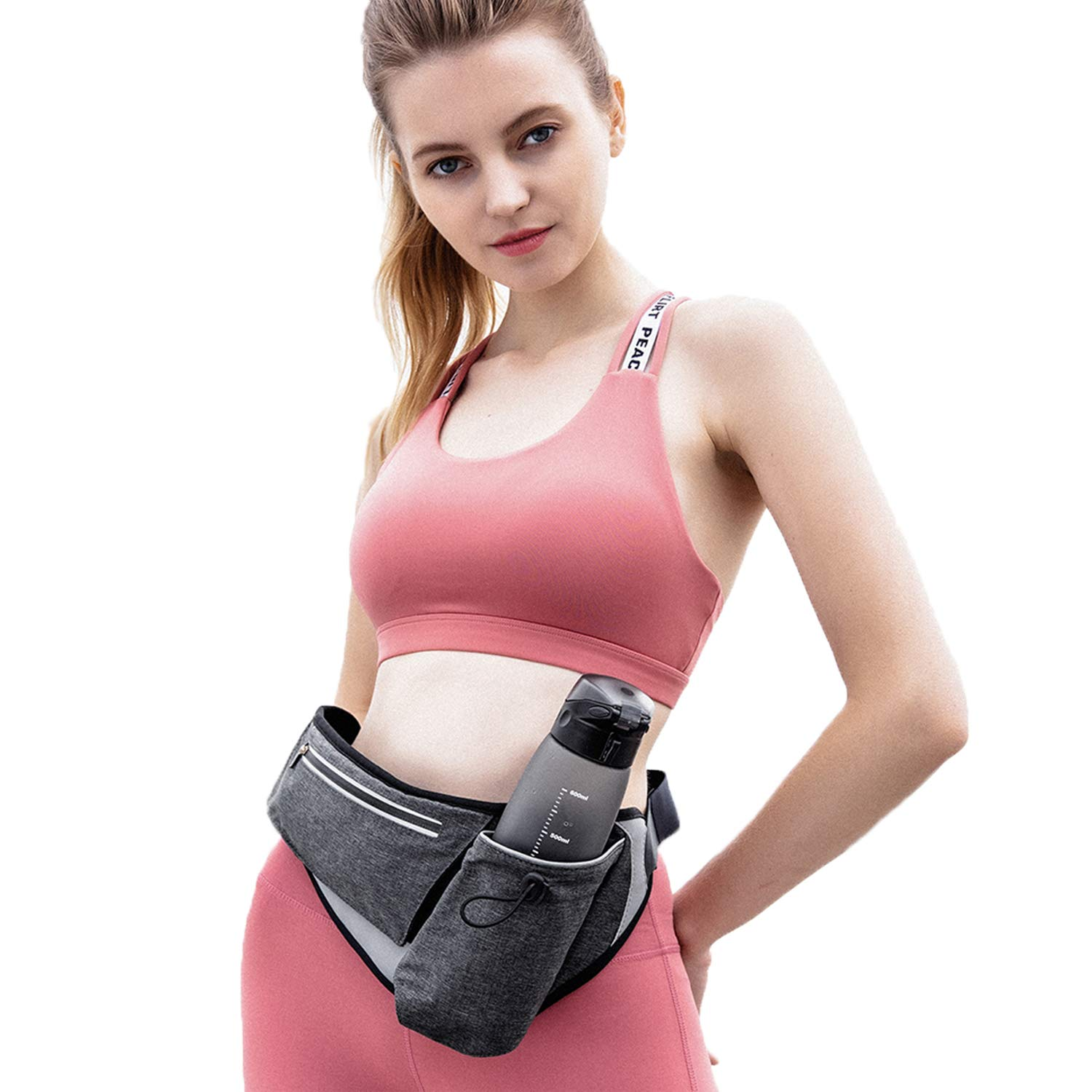 Running Fanny Waist Pack, FITNATE Fanny Waist Bag with Water Bottle Holder and Reflective Stripes, Belt Bag Waist Bag for Men and Women, Ideal for Walking, Running, Hiking, Cycling and Climbing (Grey)