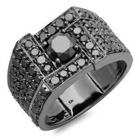 Dazzlingrock Collection 4.50 Carat (ctw) 10K Round Cut Black Diamond Mens Ring, White Gold
