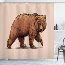 """Ambesonne Bear Shower Curtain, Ink Drawing Style Wildlife Beast Carnivore Walking Zoology Nature Themed Art, Cloth Fabric Bathroom Decor Set with Hooks, 84"""" Long Extra, Brown Rose"""