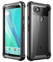 i-Blason Case for Google Pixel 2 XL 2017 Release, [Ares] Full-Body Rugged Clear Bumper Case with Built-in Screen Protector(Black)