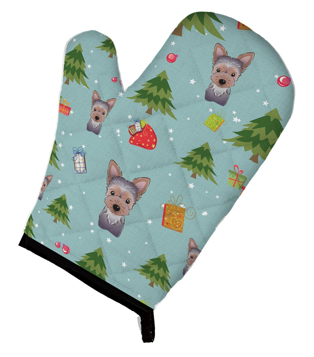 Caroline's Treasures BB5021OVMT Christmas Yorkie Puppy Oven Mitt, Large, multicolor