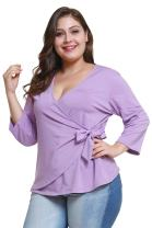 Gloria&Sarah Women's Plus Size V Neck Long Sleeve Belt Tie Peplum Wrap Blouse Top Shirt
