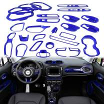 Yoursme Blue Car Interior Accessories Decoration Cover Trim Kit 31PCS Air Conditioning Vent & Door Speaker & Water Cup Holder & Passenger Side Grab Handle Covers for Jeep Renegade 2015-2020