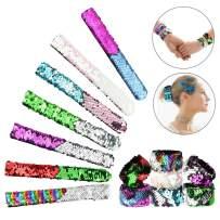 BARWA Mermaid Slap Bracelet Party Favors Birthday Gifts 2 Colors Decorative Reversible Charm Sequins Slap Wristband Flip Bracelets Toys (7 Pack)