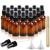 RUCKAE 2 oz Glass Spray Bottles-18 Piece Set - With Funnel and Gold Glass Pen,Black Fine Mist Sprayers (Amber)