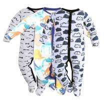 Baby Footed Pajamas Sleeper - 3 Packs Infant Boys Girls Cotton Long Sleeve Jumpsuit Newborn Romper Bodysuit