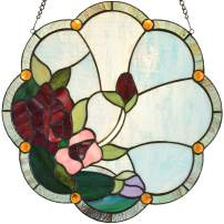 Bieye W10058 Rose Flower Tiffany Style Stained Glass Window Panel with Chain, 16-inch Wide