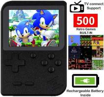 DigitCont Retro Mini Handheld Arcade, Built-in with 500 Classic Games Miniature Console Handheld Portable Game Cabinet Machine Rechargeable Battery Inside Support Connect TV Black