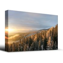 wall26 - Winter Forest Snow - Canvas Art Home Art - 12x18 inches