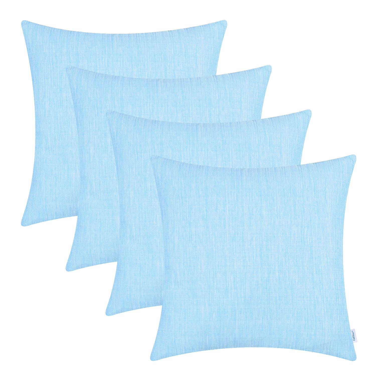 CaliTime Pack of 4 Throw Pillow Covers Cases for Couch Sofa Home Decoration Light Weight Two Tones Faux Linen 18 X 18 Inches Main Blue