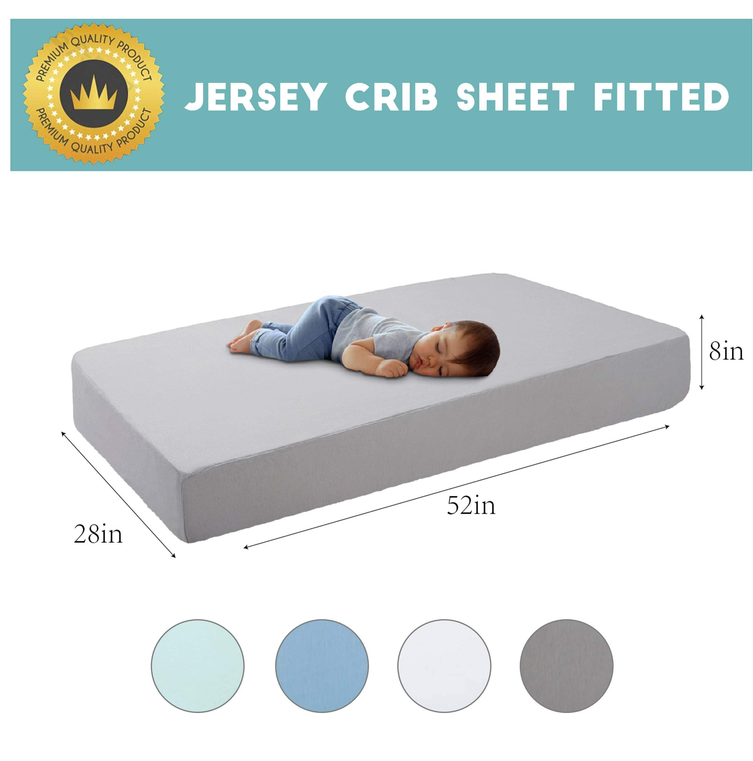 Stretchy Jersey Knit Cotton Grey Crib Sheet Upgrade Soft And Breathable Baby Mattress Sheet Extra Deep Pocket Fits Standard Crib And Toddler Mattress For Baby Boys And Girls Size 28x52in