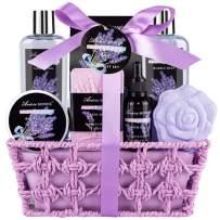 Mother's Spa Bath Gift Basket Set, Lavender Home Spa Girt for Women, with Shower Gel, Bubble Bath, Body Butter, Bath Salt, Bath Bomb, Bath Oil, Bath Soap, Best Gift Idea for Mother, Girlfriend, Wife