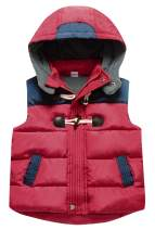 Happy Cherry Kids Winter Padded Vest Zipper Hooded Sleeveless Puffy Jacket