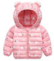 Happy Cherry Toddlers Thick Puffer Jackets Hoodie Windproof Warm Coat Outdoor Pink 2-3T