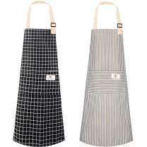 2 Pack Adjustable Bib Aprons , Cotton Linen Kitchen Cooking Aprons with 2 Pockets Soft Chef Apron for Men Women