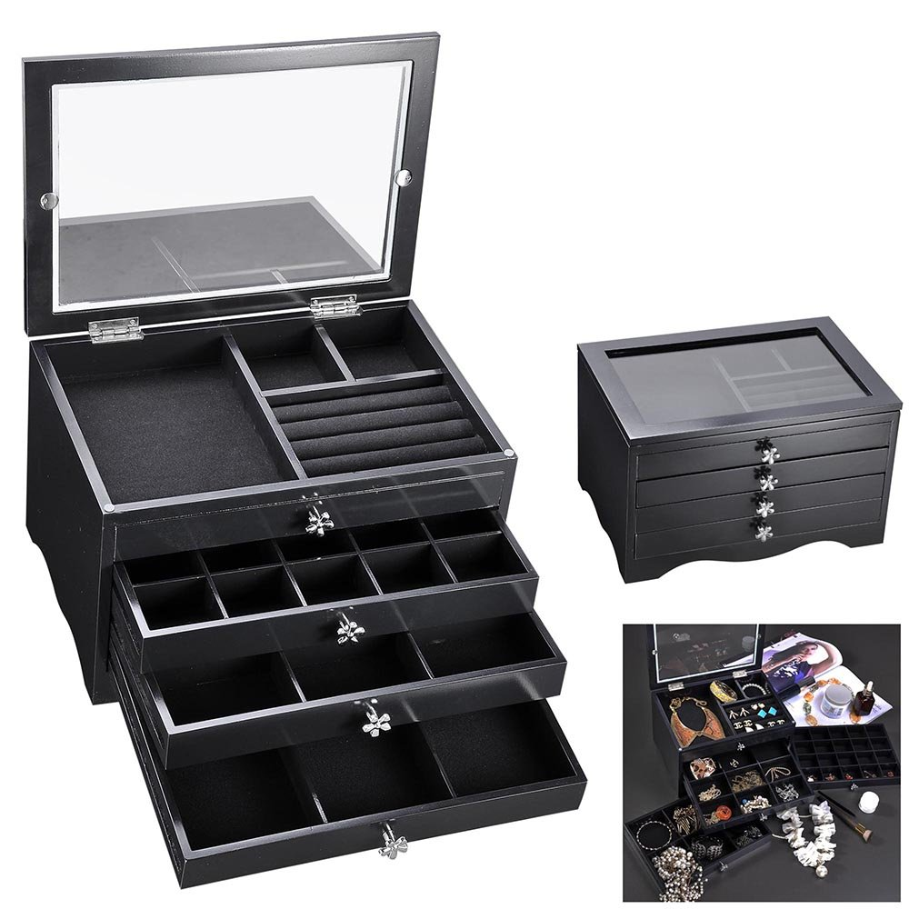 Yescom Wooden Jewelry Box Organizer Storage Case Transparent Acrylic Lid Ring Earring Necklace Black