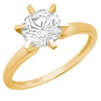 Clara Pucci 2.0 CT Brilliant Round Cut Simulated Diamond CZ Solitaire Engagement Wedding Ring Solid 14k Yellow Gold