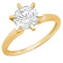 Clara Pucci 0.5 CT Brilliant Round Cut Simulated Diamond CZ Solitaire Engagement Wedding Ring Solid 14k Yellow Gold