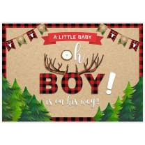 Allenjoy 8x6ft Lumberjack Themed Backdrop Supplies Oh A Little Baby is On His Way Wild One Boy 1st First Red Black Buffalo Plaid for Birthday Party Baby Shower Decorations Photoshoot Props Background