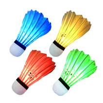 LED Badminton Shuttlecocks Feather Badminton Birdie Light Up Shuttlecock Birdy Badminton for Indoor/Outdoor Sports Activities 4/8 Pack