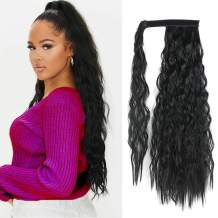 Corn Wave Ponytail Extension Clip in 22 Inch Long Wavy Curly Wrap Around Pony Tail Heat Resistant Synthetic Hairpiece for Women