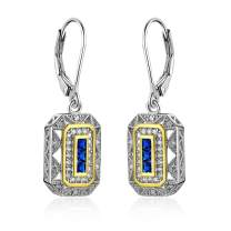 Newshe Vintage Created Blue Sapphire White Cz 925 Sterling Silver Gemstone Dangle Drop Earrings