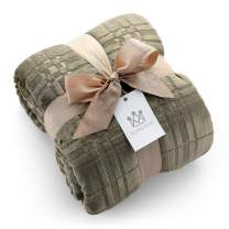 Kingole Flannel Fleece Microfiber Throw Blanket, Luxury Olive Grid Pattern Queen Size Lightweight Cozy Couch Bed Super Soft and Warm Plush Solid Color 350GSM (90 x 90 inches)