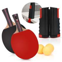 Table Tennis Bats and Net Set,2 Ping Pong Paddle 3 Balls and Retractable Net Instant Player Games for Home Schools and Sports Club or Dining Table Use