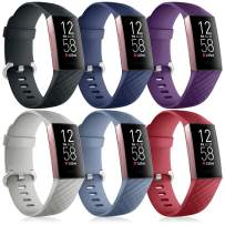 Nofeda 6 Pack Bands Compatible with Fitbit Charge 4 / Charge 3 / Charge 3 SE, Sports Waterproof Replacement Wristbands Straps Accessories for Women Men Small