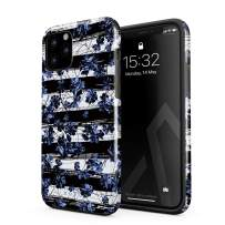 BURGA Phone Case Compatible with iPhone 11 PRO MAX - Wild Cherries Blue Blossom Floral Pattern Chevron Fashion Designer Heavy Duty Shockproof Dual Layer Hard Shell + Silicone Protective Cover