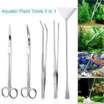 LONDAFISH Fish Tank Stainless Steel Plant Tool Set Aquarium Aquascaping Tweezers Scissors Kit 3 in 1/5 in 1/Substrate Spatula