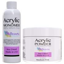 Medium Pink - 4oz Nail Powder and 8oz Monomer for doing Acrylic Nails at Home. Professional grade acrylic nail powder, for nail tips, overlays.