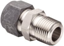 """Parker CPI 8-4 FBZ-SS 316 Stainless Steel Compression Tube Fitting, Adapter, 1/2"""" Tube OD x 1/4"""" NPT Male"""