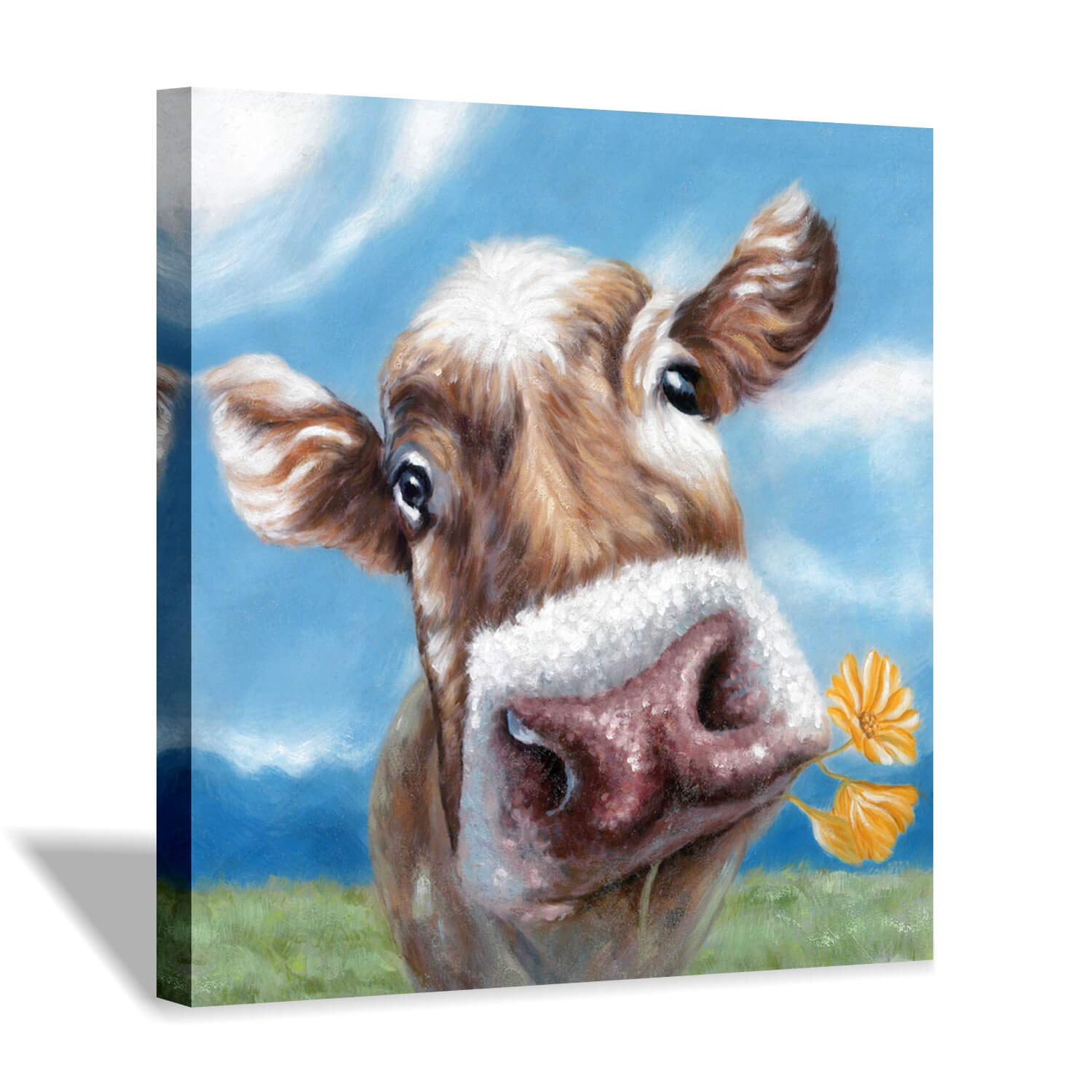 Hardy Gallery Animal Picture Cow Wall Art: Cute Cow Biting Flowers in The Mouth Canvas Painting for Living Room (24'' x 24'' x 1 Panel)
