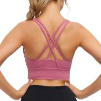 Lykoxa Sports Bras for Women, Cross Back Strappy Padded Bras for Yoga Activewear with Removable Cups