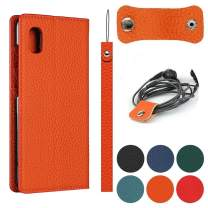 """Jaorty Galaxy A10e Genuine Cowhide Leather Wallet Case,Headset Winder,Flip Folio Magnetic Closure,Card Slots,Kickstand,Cash Pockets Wrist Strap Cover Case for Samsung Galaxy A10e,5.83"""",Orange"""