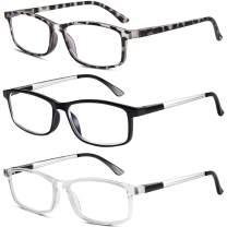 3 Pack Blue light Blocking Reading Glasses for Women Men, TR90 Readers