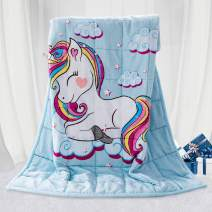 BUZIO Kids Fleece Weighted Blanket 5lbs, Unicorn Blanket for Kids with 4 Color Options, Ultra Soft and Cozy Heavy Blanket, Great for Calming and Sleep 36 x 48inch