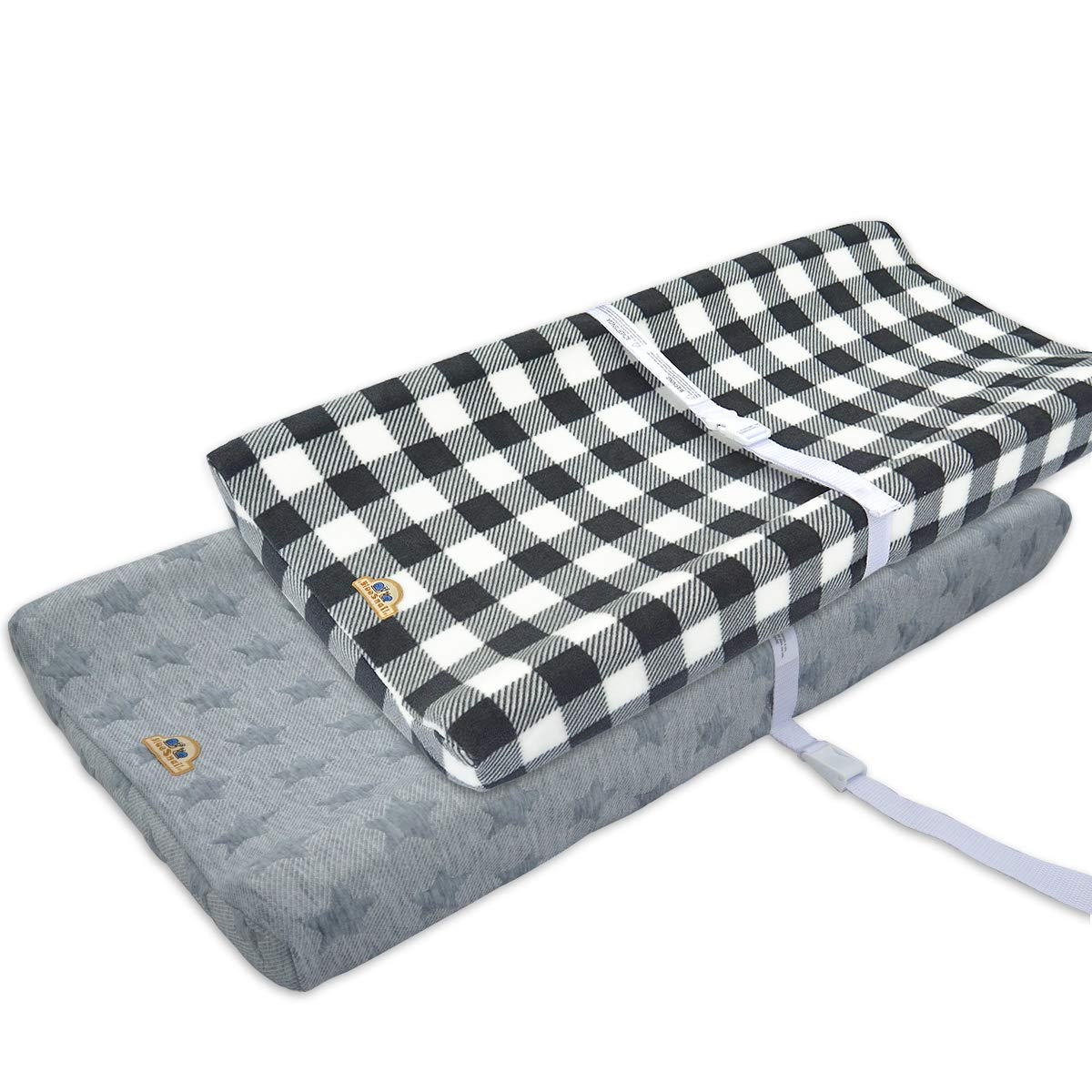 BlueSnail Plush Super Soft and Comfy Changing Pad Cover for Baby 2-Pack (Gray Buffalo Palid)