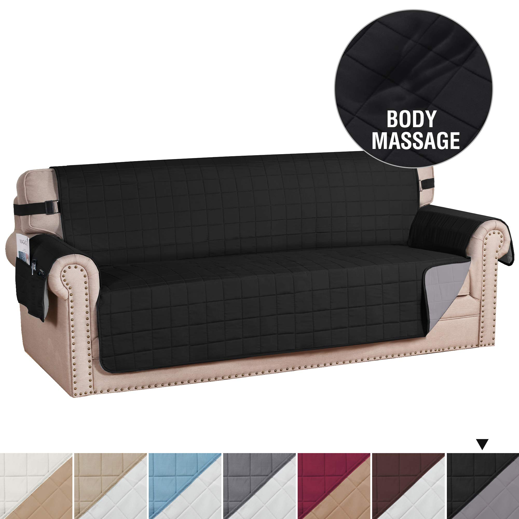 """H.VERSAILTEX Sofa Slipcover Reversible Couch Cover Foam Quilted Sofa Covers for Dog Water-Repellent Furniture Protector with Side Pocket Seat Width up to 78"""" (XL Sofa, Black/Grey)"""