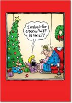 12 'WTF Is This' Boxed Christmas Cards with Envelopes 4.63 x 6.75 inch, Funny Illustrative Cartoon Holiday Notes, Happy Holidays with Grumpy Little Girl and Dog Christmas Cards B5899