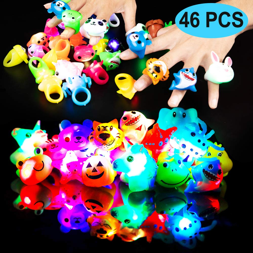 HLXY Birthday Party Favor for Kids 46 Pack LED Light Up Rings Bulk Toys Jelly Gift Blinky Glow in The Dark Party Supplies 36 Rings and 10 Sheets Tattoo Stickers for Kids Boys Girls