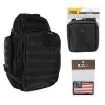 5.11 RUSH72 Tactical Backpack Med First Aid Patriot Bundle - Black