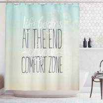"""Ambesonne Lifestyle Shower Curtain, Motivational Life Begins at The End of Your Comfort Zone Words Concept Print, Cloth Fabric Bathroom Decor Set with Hooks, 84"""" Long Extra, Mint"""