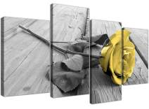 Yellow Grey Rose Flower Black White Floral Canvas WhiteValentine'sDay Decor 51 Inches Wide,4 Panel Canvas Prints Artwork Modern Paintings Wall Art Home Decoration Stretched and Framed Ready to Hang