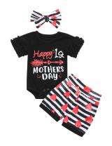 Baby Girls Clothes Short Sleeve Funny Letter Romper Top and Floral Pant with Headband Newborn Girl Summer 3Pcs Outfit Sets