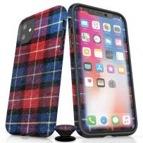 Screenflair- iPhone 11 Accessory Bundle - Designer Drop Tested Glossy Protective Case - Shatterproof and Scratch Resistant Screen Protector - Phone Grip - Cabin Plaid Design