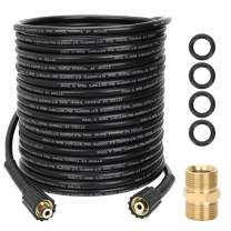 STYDDI 1/4Inch 50 FT Pressure Washer Extension Hose with Hose Coupler, 4000 PSI Double M22-14mm Brass Thread for Honda, Excell, B&S, Craftsman, Karcher, Generac, Champion, Simpson, Ryobi and Others
