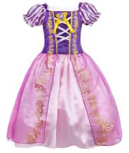 HenzWorld Little Girls Dresses Princess Costume Birthday Party Role Pretend Cosplay Dress Up Outfit Puff Sleeve Patchwork Split Layered Skirt Purple Side Zipper Kids 4T Age 3-4 Years